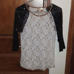 BKE lace and sequins top